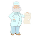 An elderly male physician in a lab coat holding a vector image