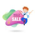 back to school sale banner with cute cartoon boy vector image vector image