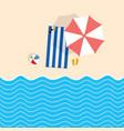 beach stuff with towel cartoon vector image vector image