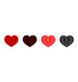 black red heart line icon set xoxo phrase sketch vector image vector image