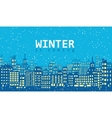 Blue winter background with buildings and snow vector image