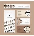 Business cards design with bikini collection vector image