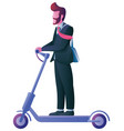 businessman on electric scooter on white vector image vector image