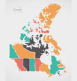 canada map with states and modern round shapes vector image vector image