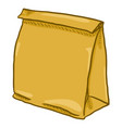 cartoon brown paper bag for grocery shopping vector image vector image