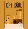 cat care poster with scratching post tower and vector image vector image