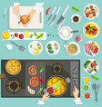 Chef Workplace Top View vector image vector image