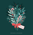 christmas bouquet with bow lollipops holly vector image