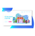 christmas promotion landing page template santa vector image vector image