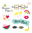 colorful summer vibes funky and fun feminine set vector image