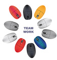 Computer Mouses Team work vector image vector image
