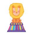 cute lion circus in stage vector image vector image