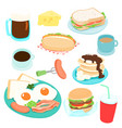 delicious various breakfast set vector image