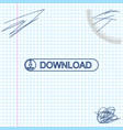 download button with arrow line sketch icon vector image