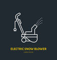 electric snow blower flat line icon sign vector image vector image