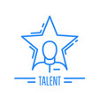 got talent - emblem with man and star celebrity vector image vector image
