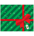 green gift box with red ribbon bow vector image