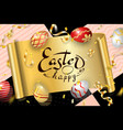 happy easter background lettering eggs greeting vector image