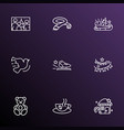 happy icons line style set with hot coffee racing vector image vector image