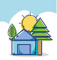 linear house with pine tree and sun weather vector image vector image