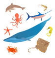 marine fish icon set ocean underwater animals vector image