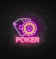 neon poker sign with playing cards and roulette vector image vector image