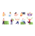 rich people characters happy person saving money vector image