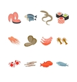 Seafood icon set isolated on white vector image