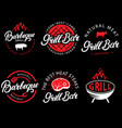 set of grill bar and bbq labels in retro vector image vector image