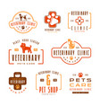set of veterinary clinic labels vector image vector image