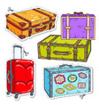 set travel bags retro suitcase with belt vector image vector image