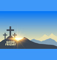 three cross symbols with sunrise good friday vector image