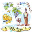 watercolor best wine time concept sketch vector image vector image