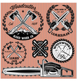 set of labels on lumberjack working with wood vector image