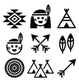 Indian American indigenous people culture icons vector image