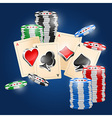 4 Aces and chips on blue background vector image
