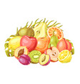 background with ripe fruits and palm leaves vector image vector image