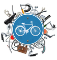 Bicycle Spares Concept with Blue Round Sign vector image vector image