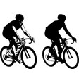 bicyclist sketch and silhouette vector image vector image