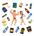 bodybuilders gym athlete and sport food diet vector image vector image