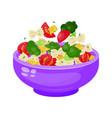 bowl salad dieting and vegetarian appetizer vector image