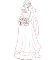 Bride with bouquet sketch vector image vector image