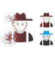 broken pixel halftone farmer guy icon vector image vector image