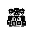 business team black icon sign on isolated vector image vector image