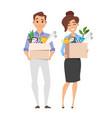 business woman and businessman holding box vector image vector image