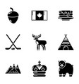canadian plaything icons set simple style vector image vector image