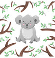 cartoon koala among the leaves and branches vector image vector image