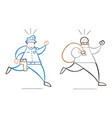 cartoon thief man with face masked running away vector image vector image