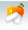 chewing gum with orange flavor vector image vector image
