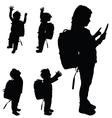 children happy set silhouette vector image vector image